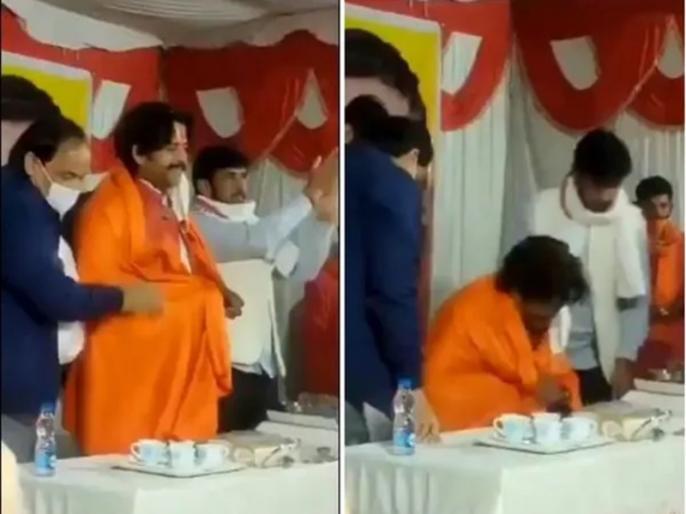 Actor Ravi Kishan falls off chair during Chatt Puja celebrations video goes viral   VIDEO: स्वागत के दौरान स्टेज पर धड़ाम से गिरे रवि किशन, फैंस बोले- जिंदगी झंड बा