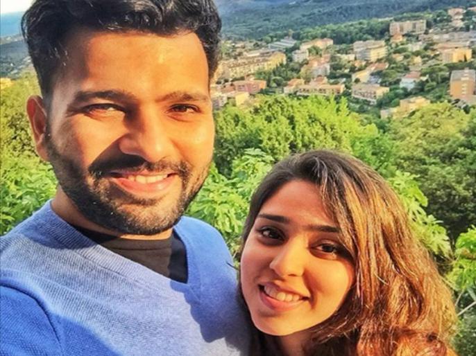 Valentine Day: Rohit Sharma share a cute photo with wife Ritika, wrote a heart touching message | Valentine Day पर रोहित शर्मा ने शेयर की पत्नी रितिका के साथ प्यारी फोटो, लिखा दिल छू लेने वाला मैसेज