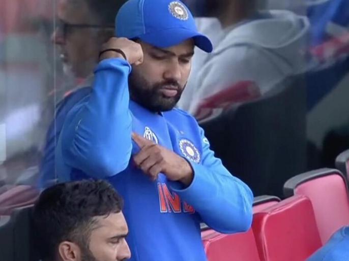 ICC World Cup 2019: Rohit Sharma Signal To Ravindra Jadeja during his brilliant Knock against New Zealand | IND vs NZ: रोहित शर्मा ने ड्रेसिंग रूम से 'खास इशारे' से दी रवींद्र जडेजा को सलाह, वीडियो हुआ वायरल