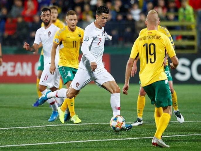Euro 2020 qualifiers: England, France, Portugal register win, Cristiano Ronaldo shines | Euro 2020 qualifiers: इंग्लैंड, फ्रांस और पुर्तगाल ने दर्ज की यूरो क्वॉलिफायर में जीत, रोनाल्डो ने दागे 4 गोल
