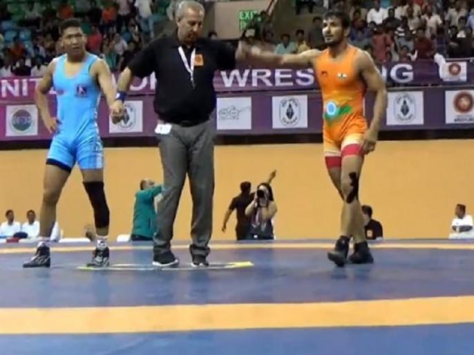 Sachin Rathi wins Gold in 74 kg category final of Freestyle wrestling at junior Asian Championships 2018 | जूनियर एशियन चैम्पियनशिप: सचिन राठी ने 74 किलोग्राम वर्ग में जीता गोल्ड, मंगोलियाई पहलवान को किया चित