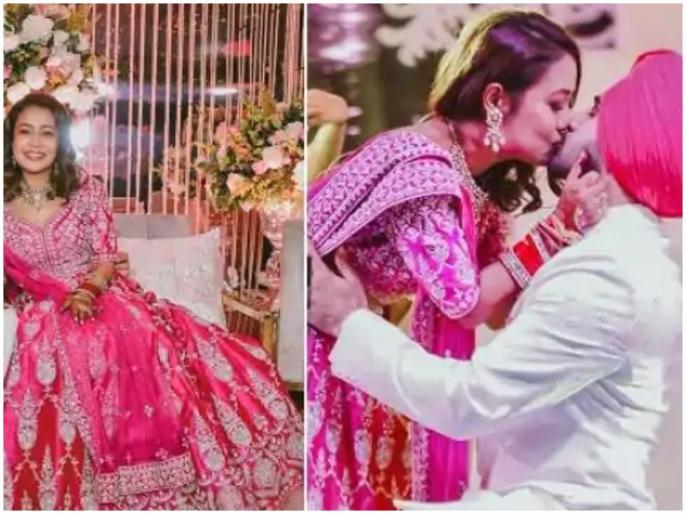 neha-kakkar-share-photo-with-rohanpreet | नेहा कक्कड़ ने मेहमानों के सामने पति रोहनप्रीत को किया लिपलॉक, सामने आई रोमांटिक फोटो