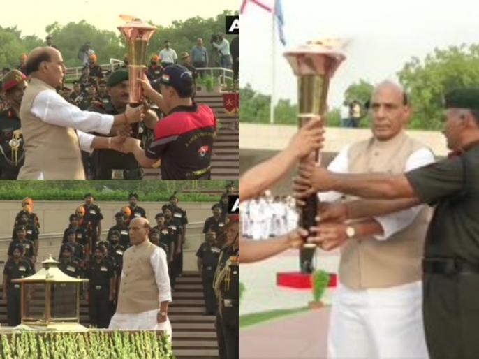 Rajnath Singh lights the 'Victory Flame' from National War Memorial over 20 years kargil war | कारगिल युद्ध के 20 साल: राजनाथ ने जलाई 'विजय मशाल', 11 कस्बों-शहरों से होकर पहुंचेगी द्रास