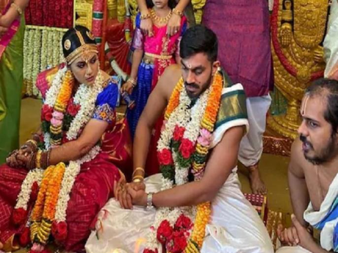 Vijay Shankar IPL and Indian cricketer marries Vaishali Visweswaran | विजय शंकर शादी के बंधन में बंधे, मंगेतर वैशाली से की सगाई, देखें तस्वीरें