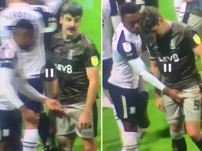 Viral trending news: English footballer seen holding private part of opposition player twice, will be investigated | Video: दो-दो बार विपक्षी खिलाड़ी का प्राइवेट पार्ट पकड़ते दिखा इंग्लिश फुटबॉलर, होगी जांच