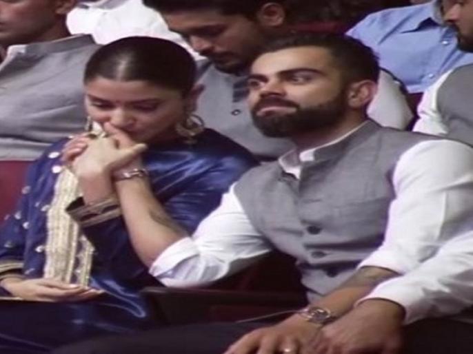 Virat Kohli and wife Anushka Sharma shares an adorable moment during a event, Watch Video | 'भावुक' विराट-अनुष्का ने यूं जताया एकदूसरे के लिए प्यार, फैंस भी हो गए इमोशनल, देखें वीडियो