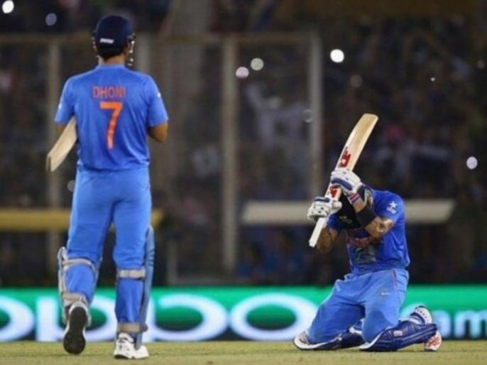 This man, made me run like in a fitness test, Virat Kohli shares throwback pic with MS Dhoni of India 2016 T20 world cup win | विराट कोहली ने शेयर की धोनी के साथ ऑस्ट्रेलिया पर जीत की तस्वीर, लिखा, 'इस आदमी ने मुझे फिटनेस टेस्ट की तरह दौड़ाया'