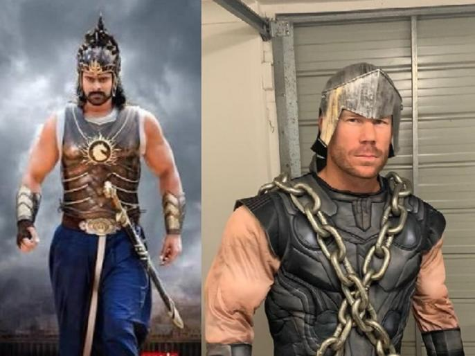 David Warner shares a picture of himself wearing Baahubali costume, goes viral   डेविड वॉर्नर 'बाहुबली' के कॉस्ट्यूम में आए नजर, फैंस ने कहा, 'बाहुबली-3 में आपका रोल पक्का'