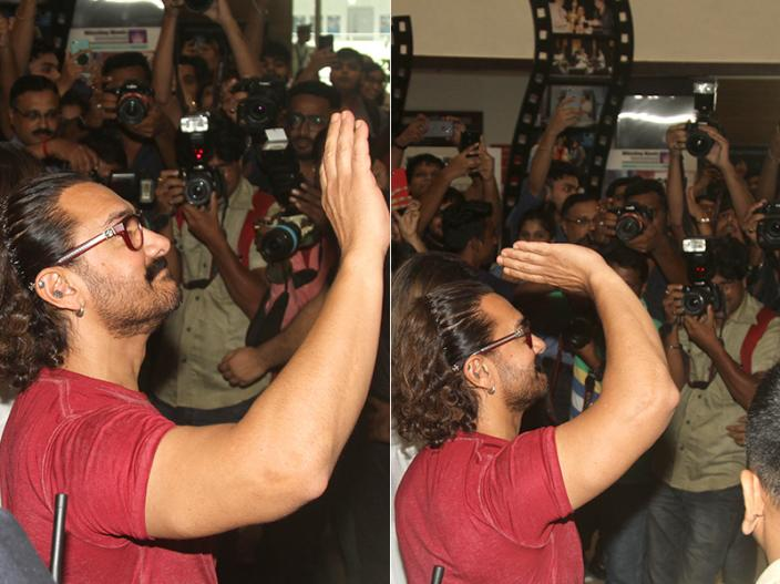 Thugs of Hindostan Actor Aamir Khan Planting at the Whistling Woods Veda Session at Whistling Woods in goregaon Mumbai |