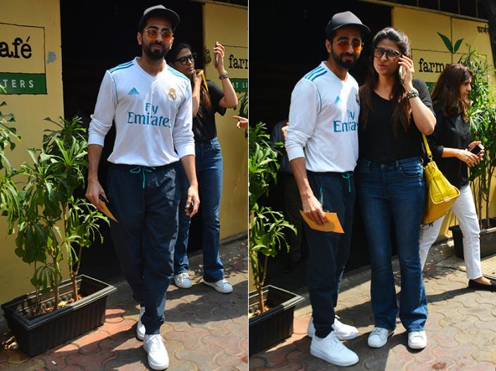 Pics: Badhai Ho actor Ayushmann Khurrana spotted with wife Tahira at farmers cafe in bandra |