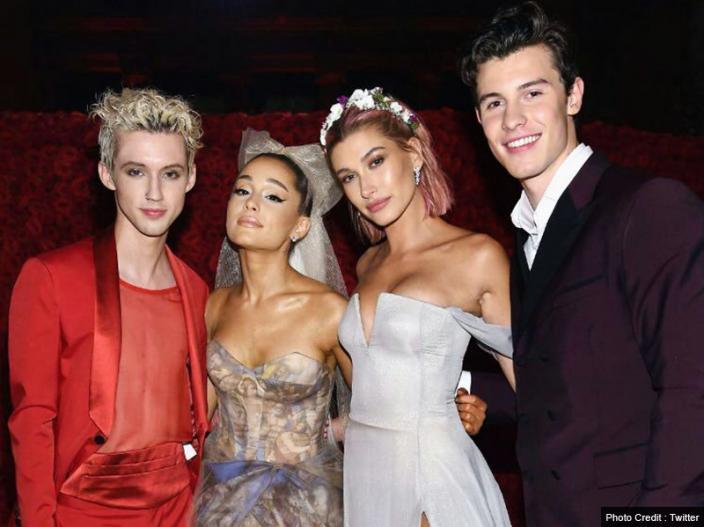 ArianaGrande Troye Sivan Shawn Mendes and hailey baldwin |