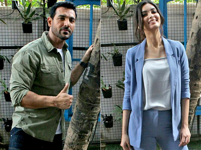 John Abraham and Diana Penty at the promotion of film parmanu the story of pokhran |