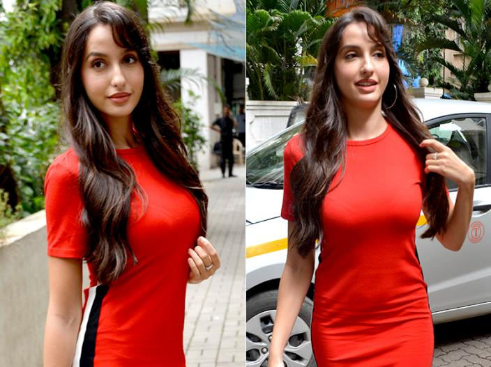 Photos: Nora fatehi spotted in hot red dress in bandra Mumbai |