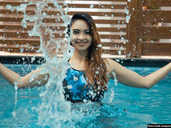 pooja banerjee hot underwater yoga pics, images goes viral on social media |