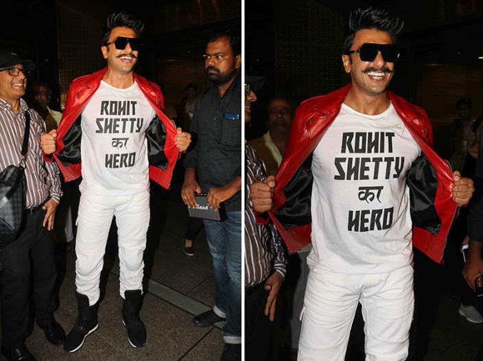 Ranveer singh Wear T-Shirt with Name Of 'Rohit Shetty Ka Hero', See Pics, Photos, HD Images |