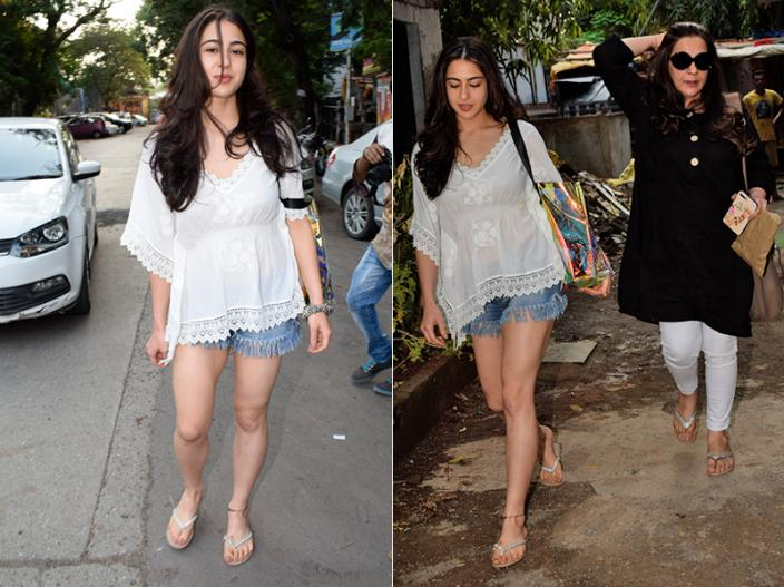 In Pics: Sara Ali Khan spotted with her mother Amrita Singh at kromakay salon Juhu in mumbai |