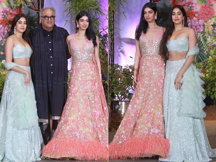Boney Kapoor arrives with daughters Janhvi and Khushi |
