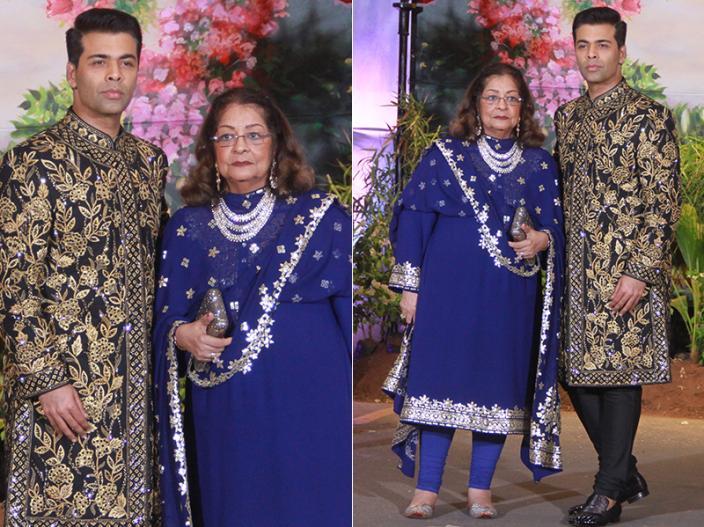 Karan Johar with his mother Hiroo |