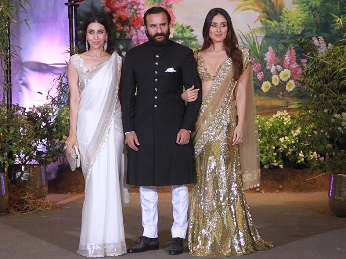 Saif Ali Khan arrives with Kareena and Karisma Kapoor |
