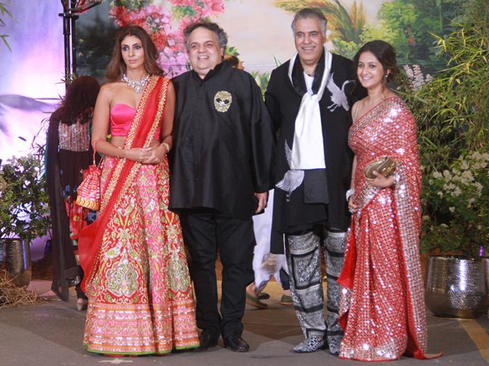 Shweta Bachchan with designers Sandeep Khosla and Abu Jani |