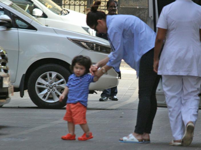 Taimur ali khan spotted with his mother kareena kapoor khan |