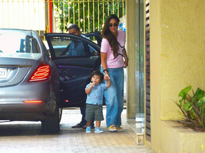In Pics: Taimur Ali khan Spotted With Mother Kareena Kapoor at Karishma Kapoor's house in bandra  